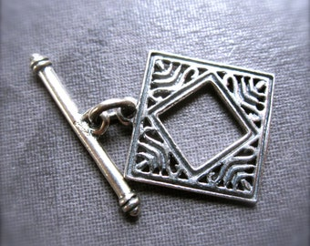 African Diamond - Solid Sterling Silver toggle clasp - square - 14mm