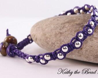 Macrame Bracelet -Purple with Sterling Silver Beads with Lampwork  Macrame Bracelet - KTBL
