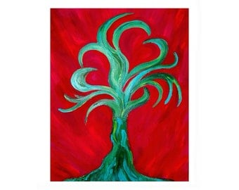 Passionate love growing tree painting makes a romantic gift of art.