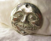 Moon Pendant - Man in the Moon - Large Moon Face Pendant - Full Moon - Bold Pewter Unique Whimsical Focal