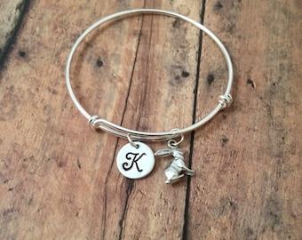 Bunny charm bracelet - rabbit bracelet, bunny rabbit bracelet, silver rabbit bangle, animal bracelet, Easter bracelet, rabbit jewelry