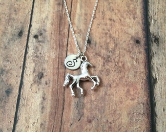 Horse initial necklace - horse jewelry, western jewelry, gift for horse lover, silver horse necklace, equestrian necklace, horse necklace
