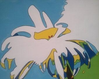 Daisy White Flower Abstract Pop Art