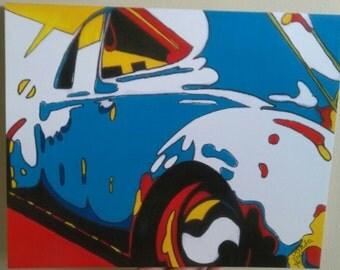Blue VW Bug PRINT Abstract Pop Art