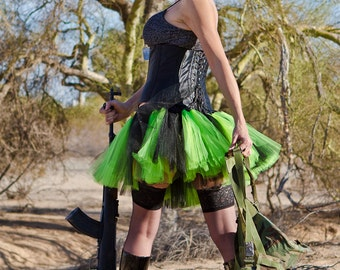 Neon Lime Green Black Striped Mini TuTu Skirt All Sizes MTCoffinz