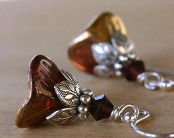 Glass Flower Earrings, Dangle, Petite, Silver, Wine, Gift For Her, Gift Ideas