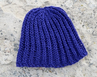 Hand Knit Hat. Cobalt Hat. Traditional Surf or Ski Beanie Hand Knit in Organic Merino Wool. Textured Knit. NAVIGATOR Design. New for 2014!