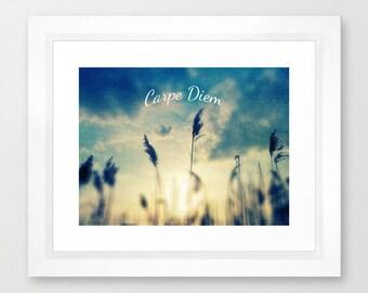 Carpe Diem photo art print- dreamy photography-nature-blue sky- sunset-yellow-typography-inspiring words-clouds- inspirational art