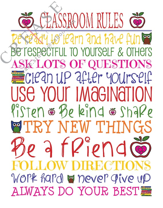 Vibrant image regarding classroom rules printable