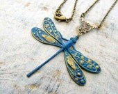 blue Dragonfly Necklace Patina dragonfly necklace nature jewelry