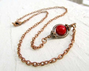 Rustic Copper necklace  Simple red necklace layered necklace Earthy Jewelry