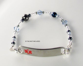 Medical ID Bracelet, alert bracelet, Pearl Blue bracelet attachment,  allergy alert bracelet
