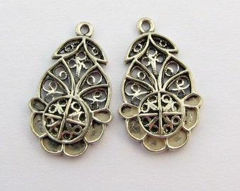 Finely Detailed and Unique Bali Sterling Silver Fancy Open Flower Pendant Charms Connector Chandelier Links 22mm (2 pieces)