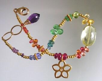 Rainbow Gemstone Gold Filled Beaded Flower Charm Bracelet with Diamond Chip, Sapphire, Lemon, Tsavorite, Mother's Day