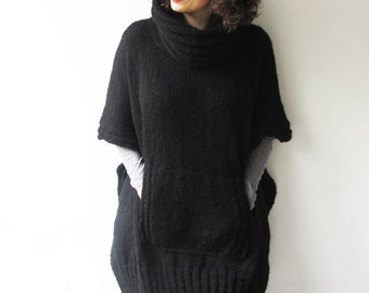 Black Plus Size Over Size Mohair Hand Knitted Poncho with Accordion Hood and Pocket Tunic - Dress by Afra