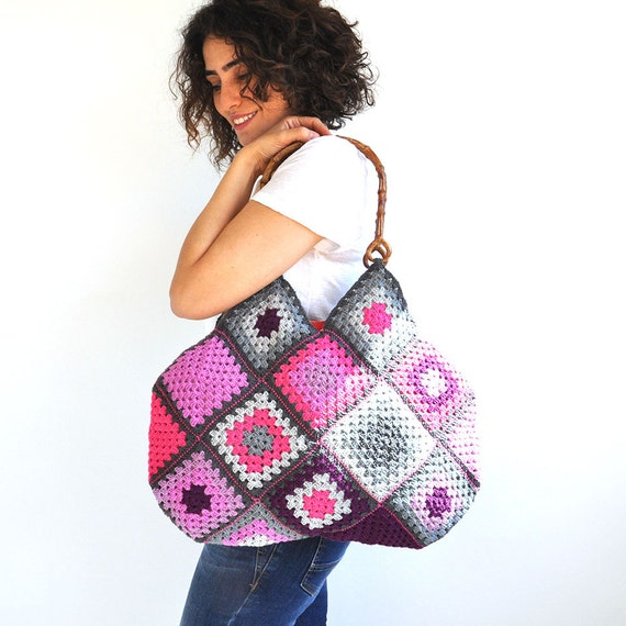 Granny Sguare Afghan Colorful Croched Handbag - Purple Pink Lavander Gray Lilac by AFRA
