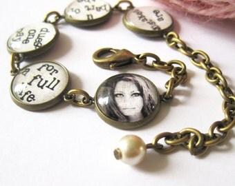 Sofia Lauren Quote Antique Brass Bracelet