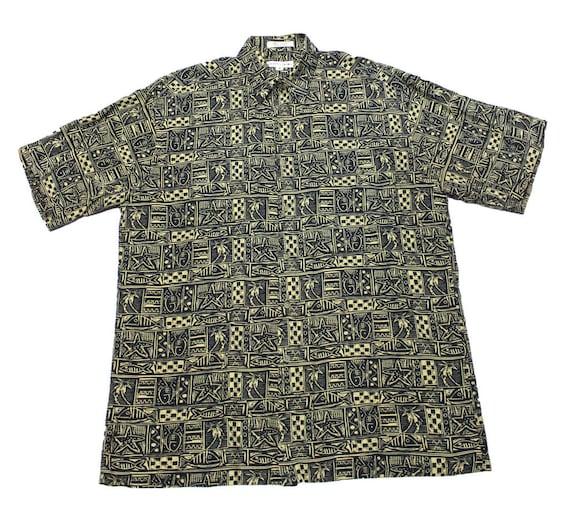 Vintage pierre cardin rayon fish print hawaiian shirt mens for Fish hawaiian shirt