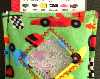 I Spy Bag - Mini with SEWN Word List and Detachable PICTURE LIST- Fast Racers
