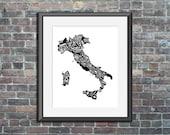 Italy typography map art ...