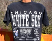 vintage t-shirt chicago WHITE SOX baseball mlb black tee 90s Large hip hop