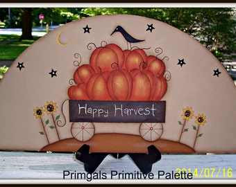Fall Primitive Wood Door Crown Shelf Sitter Pumpkin Door Topper Home Decor Sign