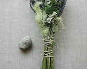 6 Winter Wedding Natural Woodland Bridesmaid Bouquets of Lavender Cedar Lichens