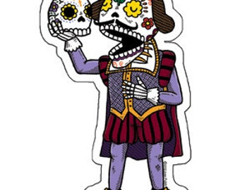 Shakespeare Calavera Clear Die Cut Vinyl Sticker