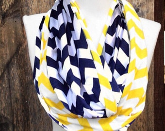 Navy & Yellow Chevron Scarf, Graduation gifts, College scarves, team scarves, School scarves, Georgia Tech, Notre Dame, football scarves