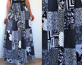 Vintage 60s 70s Black and White Patchwork Maxi Skirt