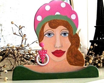 ROSALIE WOODEN SCULPTURE  Hand Painted with Vintage Earring, beret, wood sculpture, home decor, 3 dimensional, desk sculpture