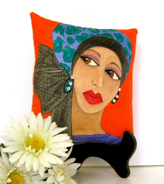 MIDLIFE MADONNA PILLOW, deep orange, turban hat, hand painted pillow, gift for woman, purple, rhinestones, avant garde woman, Paris