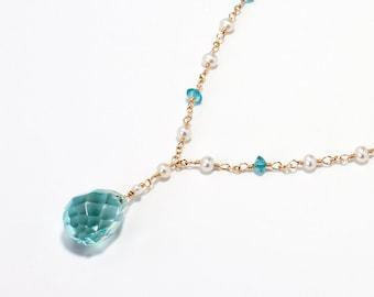 Apatite Necklace, Aqua Blue Quartz, Beach Wedding Necklace, Ocean Blue Necklace, Beachy Bridal Necklace