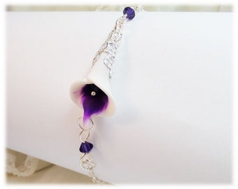 Purple Picasso Calla Lily Clasp Bracelet - Picasso Calla Lily Jewelry Collection