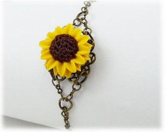 Sunflower Clasp Bracelet - Sunflower Jewelry, Sunflwoer Filigree Bracelet