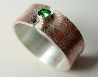 Mokume gane ring with Tsavorite Garnet,  Gemstone Ring,  Green Garnet Ring, Flare Ring