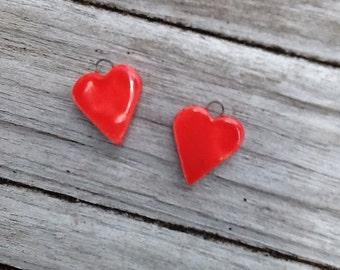 Red Heart Ceramic Charm Earring Set