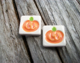 Ceramic Halloween Pumpkins Charms Earring Pair or Small Pendants