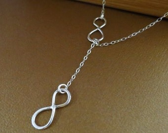 Sterling silver Infinity necklace, Infinity Jewelry, Lariat Style, Infinity Necklace, Mother's Necklace,Figure Eight Charms