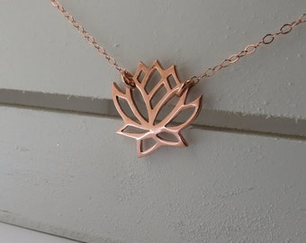 Rose Gold Lotus Necklace, 14kt Rose Gold, Lotus Pendant, Zen Jewelry, Lotus Flower Necklace, Delicate Necklace in Rose Gold Filled