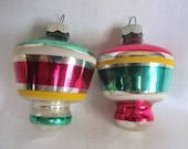 Vintage 1950's Striped Shiny Brite Set Of 2 Top Christmas Ornaments