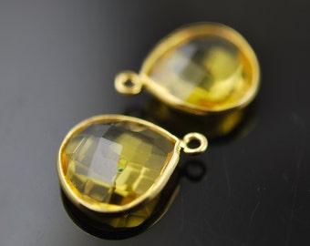 Bright Yellow quartz pendants in vermeil 2 matching 18.00