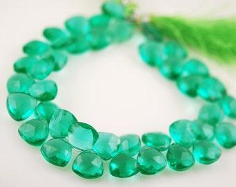 1/2 strand of caribbean green quartz hearts WHOLESALE 18.00