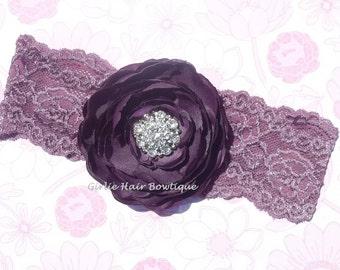 """Purple Flower Headband Eggplant Flower Headband 3.75"""" Ranunculus Flower Rhinestone Eggplant Lace Headband Wedding Bridesmaid  Flower Girl"""