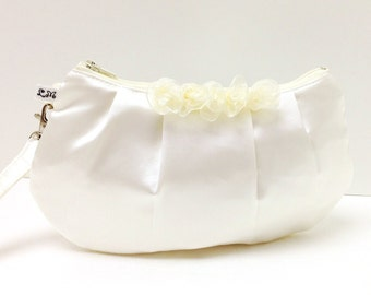 Bridal Bridesmaid Clutch Purse Pleated Wristlet - Ivory Cream Satin with Flower Frills