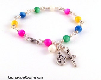 Rosary Bracelet Our Lady of Christians With St John Bosco In Rainbow Mother of Pearl by Unbreakable Rosaries
