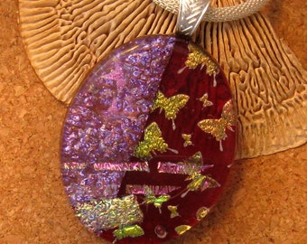 Dichroic Butterfly Pendant Dichroic Jewelry Fused Glass Pendant Fused Glass Jewelry Red Pendant