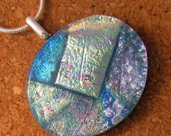 Dichroic Fused Glass Pendant - Dichroic Jewelry - Fused Glass Pendant -  Blue Pendant - Fused Glass Jewelry - Dichroic Necklace