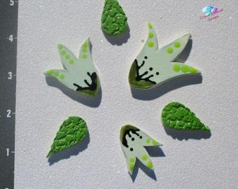 Flowers and Leaves  - Kiln Fired Handmade Ceramic Mosaic Tiles M3002