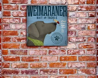 Weimaraner dog fishing Bait and Tackle illustration  artwork graphic on gallery wrapped canvas
